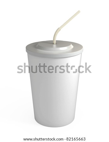 Blank white disposable cup with straw, isolated on white, with clipping path, 3d illustration