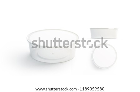 Blank white disposable food container mockup set, 3d rendering. Empty round lunch box with lid mock up. Blank transparent plastic package for meal, isolated. Take away bento template.