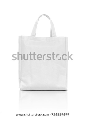blank white fabric canvas bag for shopping isolated on white background