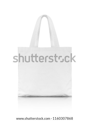 blank white fabric canvas shopping bag for save global warming isolated on white background