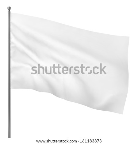 Blank white flag. 3d illustration on white background