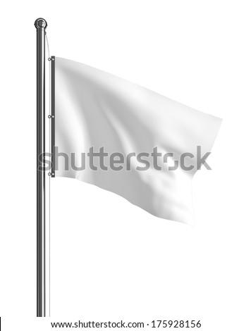 Blank white flag. 3d illustration on white background  #175928156