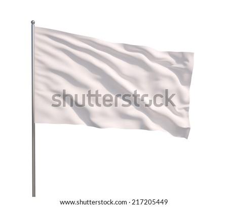 Blank white flag. 3d illustration on white background  stock photo