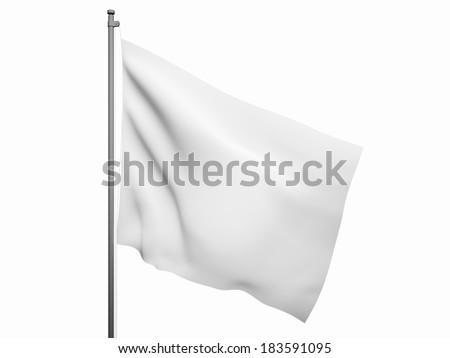 Blank white flag. 3d render isolated on white background #183591095