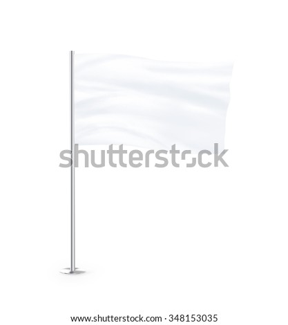 Blank white flag mock up stand at white background isolated. Large wavy flagpole mockup ready for business logo design presentation. Surrender symbol empty banner. Clear standart sign. #348153035