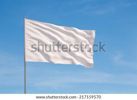 blank white flying flag on a clear sky for designer