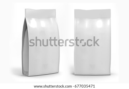 Shutterstock Blank white Foil Or Paper Food Stand Up Pouch Snack Sachet Bag Packaging. 3d render Illustration Isolated On White Background. Mock Up, Mockup