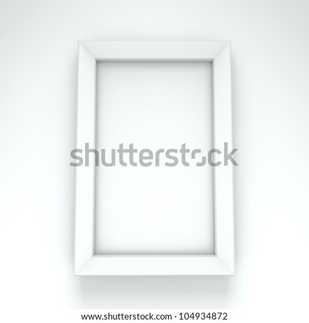 Blank white frame hanging on white wall.