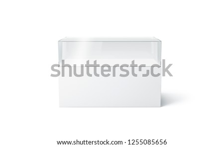 Blank white glass expo showcase mock up, isolated, 3d rendering. Empty gallery or museum replicas mockup, front view. Building project imitation template. Rectangular art installation.