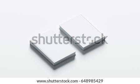 Blank white hardcover books mock up set, front and back side view, 3d rendering. Empty notebook cover mockups, isolated. Bookstore branding template. Plain textbook with clear binding. Booklet above