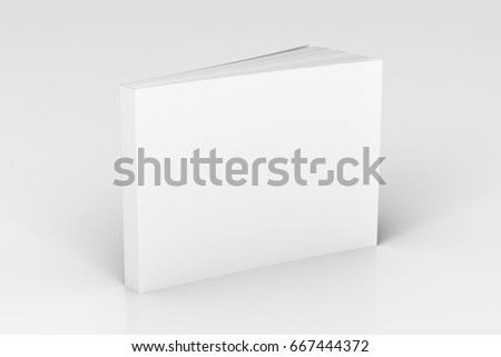 Shutterstock Blank white horizontal soft cover book standing on white background. Isolated with clipping path around book. 3d illustration
