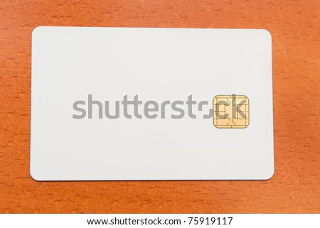 Blank white ID card with chip