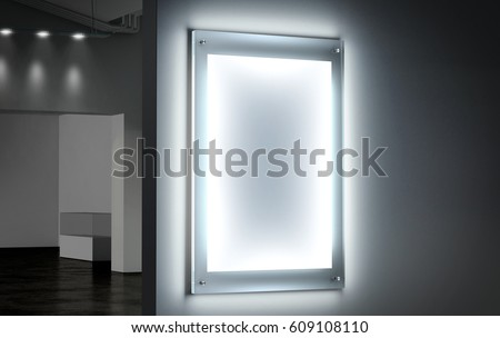 Blank white illuminated poster mockup in dark hall, 3d rendering. Clear glowing affiche design mock up mounted on gallery wall. Led acrylic billboard with empty placard in cinema room. Light box sign