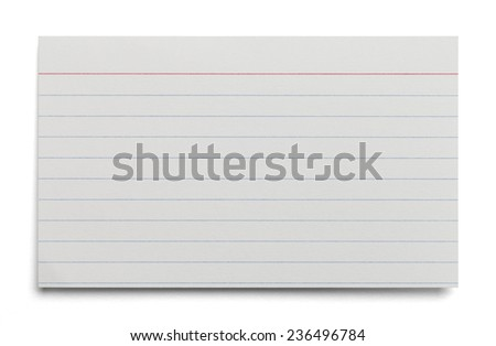 Blank White Index Card With Lines Isolated on White Background.