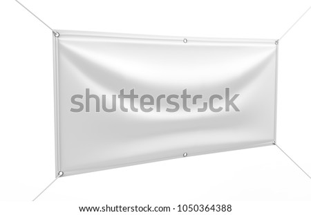 Blank White Indoor outdoor Fabric & Mesh Scrim Vinyl Banner backdrop for print design presentation. 3d render illustration.