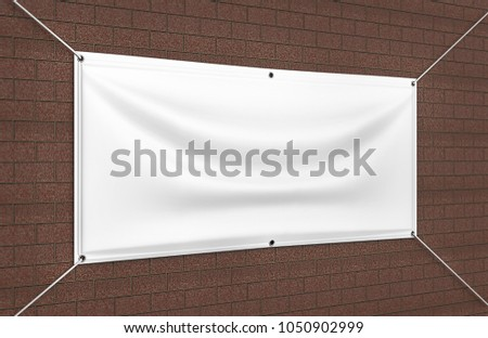 Blank White Indoor outdoor Fabric & Scrim Vinyl Banner for print design presentaion. 3d render illustration.