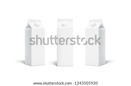 Blank white juice or milk pack with lid mockup isolated, 3d rendering. Empty aseptic bottle with cap mock up, front and half turn view. Clear pure packet with beverage for market branding.