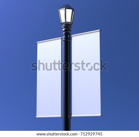 Blank white Lamp Post Banner poster 3d render for mock up and template design #712929745