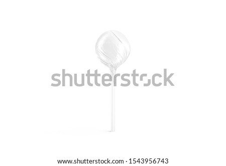 Blank white lollipop wrapper mockup, front view, 3d rendering. Empty candy stick mock up isolated. Clear hard caramel ball for children. Sweet lolly-pop with swirl cover mokcup template.