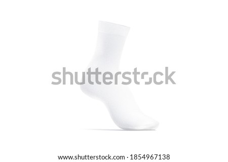 Blank white long sock on tiptoe mockup stand, side view, 3d rendering. Empty elastic loose kneehighs or gaiters mock up, isolated. Clear fabric anklets stockings for sportswear template. ストックフォト ©