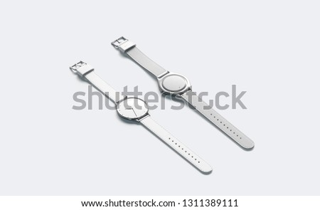 Blank white lying watch with wristlet mockup, isolated, side view, 3d rendering. Empty minimalistic clock mock up, front and back. Clear timer jewelry with bracelet template.