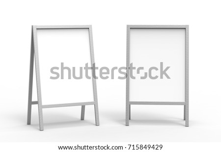 Blank white metallic outdoor advertising stand mockup set, isolated, 3d rendering. Clear street signage board mock up. A-board with metal frame template
