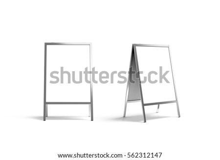 Blank white metallic outdoor stand mockup set, isolated, front and side view, 3d rendering. Clear street signage board mock up. A-board with metal frame template