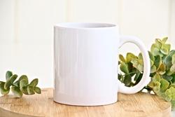 Blank white mug mockup photo with eucalyptus ,11 oz mug on wood table