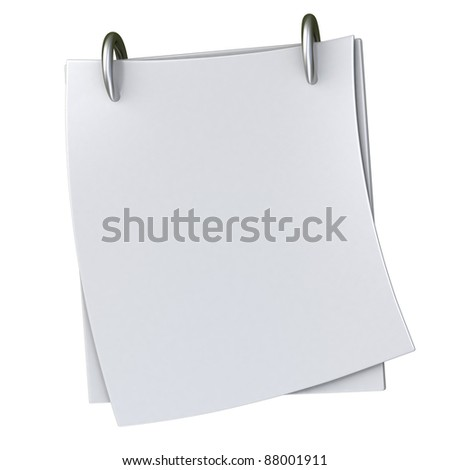 Blank white note paper block 3d