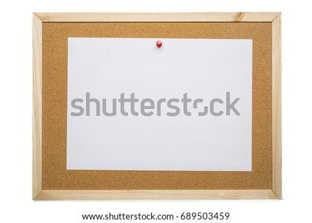 Blank white note paper on cork board, notification concept, blank space Foto d'archivio ©