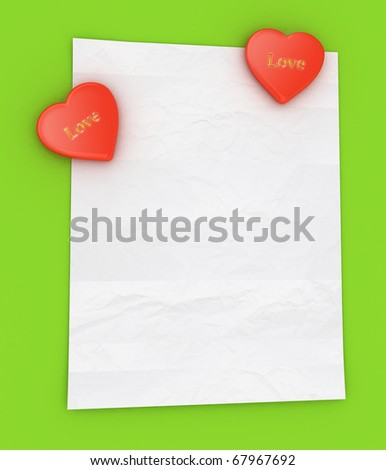 Blank white note with two heart magnet
