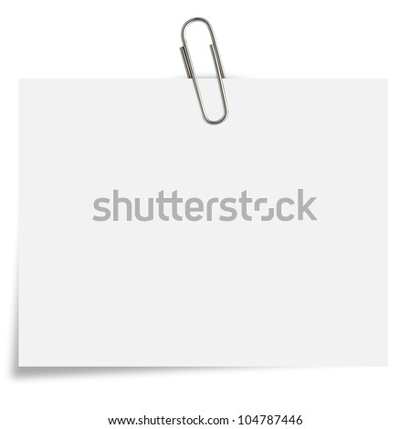 blank white Notepaper with paperclip on white background.