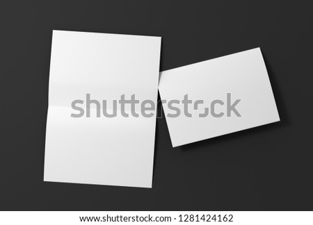 Blank white open and folded half-folded flyer leaflet on black background. With clipping path around brochure. 3d illustration