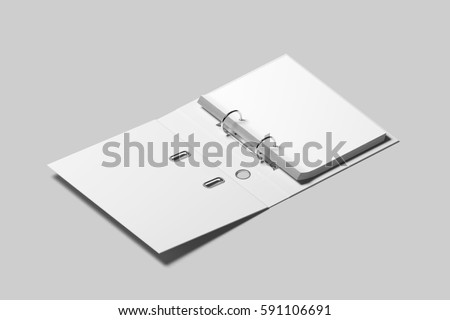 Blank white opened ring binder design mockup, 3d rendering. Self-binder mock up with stack of a4 paper. Office supply cardboard folder branding presentation. Desk lever arch file cover template.