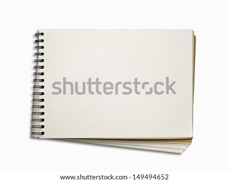 Blank White Page of Note Book Horizontal on White Background and Shadow with Path