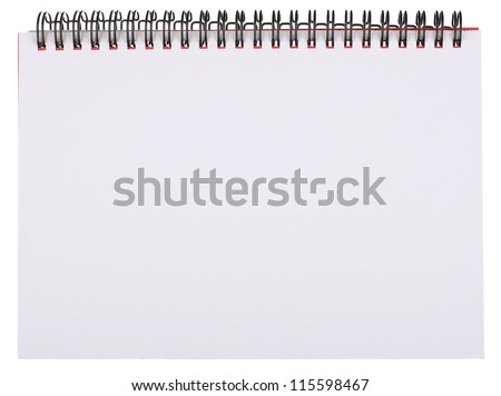 Blank White Page of Spiral Bound Notepad Isolated on White
