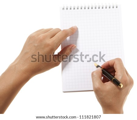 Blank white paper and pen in hand for signature