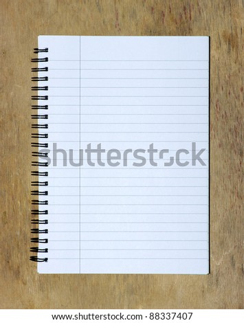 blank white paper background on the wood