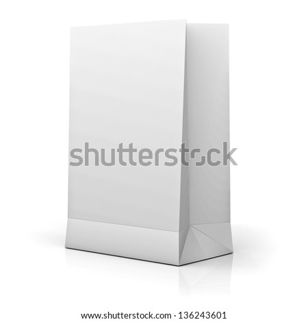 Blank White Paper Bag isolated over white background with reflection