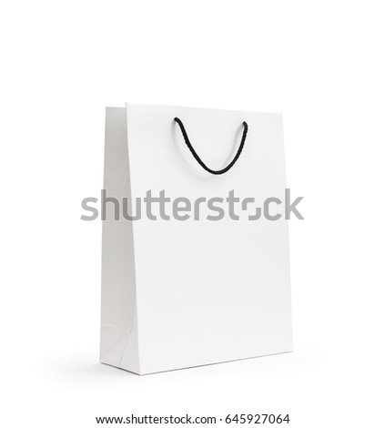 blank white paper bag on white background with original shadow