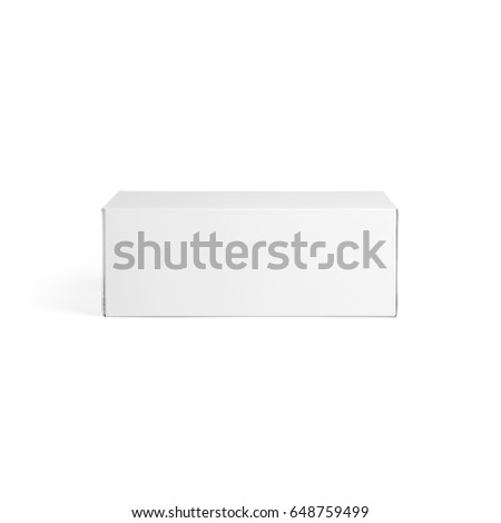 Blank White paper box front view isolated on white background. Packaging template mockup collection. With clipping Path included.