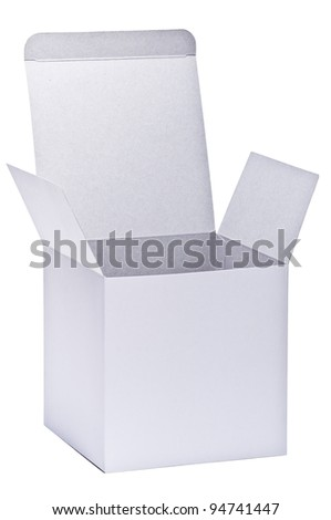 blank white paper box isolated on white background - stock photo