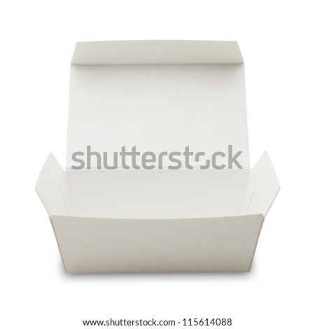 blank white paper box with lid open , often used in fast food packaging.