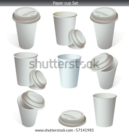 Blank, white paper coffee cup set isolated on white