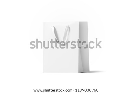 Blank white paper gift bag with silk handle mockup, isolated, 3d rendering. Empty shopping plastic pack mock up. Clear beautiful package template. Carry craft bagful for for present, side view mokcup.