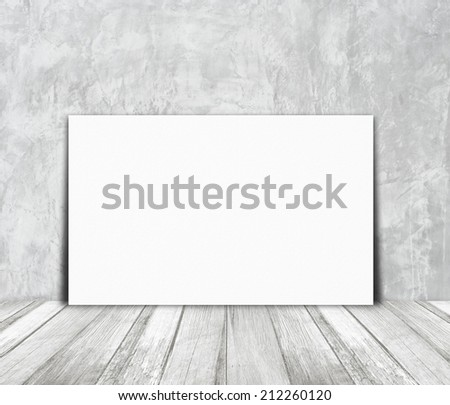 Blank white paper poster and light gray cement wall, background, template