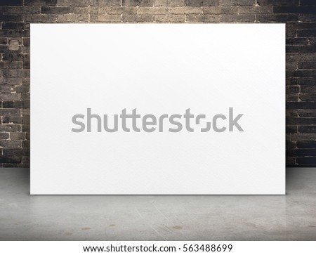 Blank white paper poster at grunge brick wall and concrete floor,Mock up template for adding your content or design,Business presentation #563488699