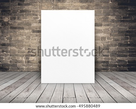 Blank white paper poster at grunge brick wall and wood plank floor,Mock up template for adding your content or design,Business presentation. #495880489