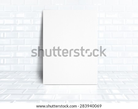 blank white paper poster at white tiles ceramic room,Business mock up for display your design.