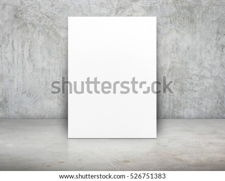 Blank white paper poster canvas at grunge concrete room,Mock up template for adding your content or design,Business presentation. #526751383